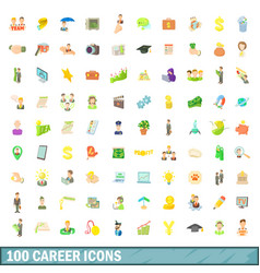 100 career icons set cartoon style vector image