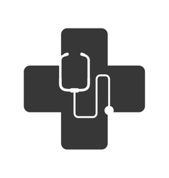 Medical cross with stethoscope icon vector