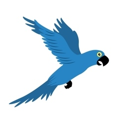 Parrot blue flying isolated icon vector