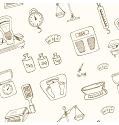 Doodle weighing machine seamless pattern vector image
