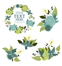Flower wreath background vector