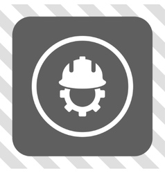 Development helmet rounded square button vector
