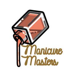 Color vintage manicure emblem vector