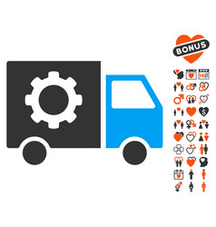 Gear tools delivery car icon with love bonus vector