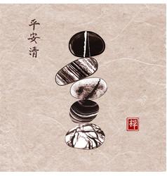 Pebble zen stones balance on vintage background vector