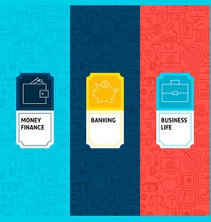Line finance patterns set vector