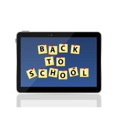 Black tablet pc with back to school vector