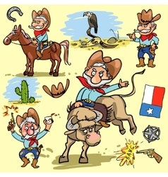 Cartoon cowboy set vector