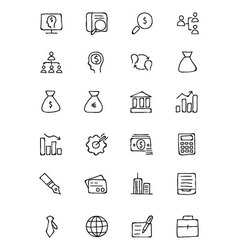 Finance hand drawn doodle icons 1 vector