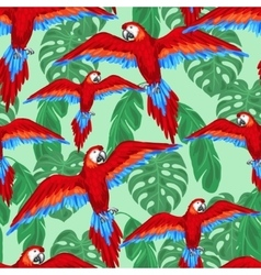 Tropical birds seamless pattern with parrots and vector
