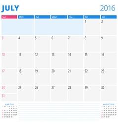 Calendar template for july 2016 week starts sunday vector