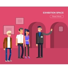 Funny character people in museum vector