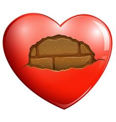 A broken heart with a stonewall vector