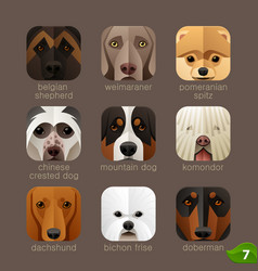 Animal faces for app icons-dogs set 6 vector