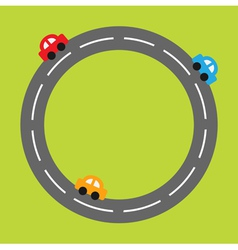 Background with round road and cartoon cars vector image