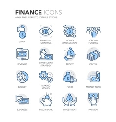 Blue line finance icons vector