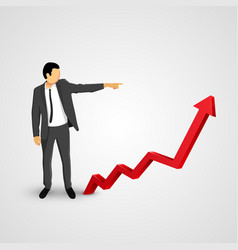 Businessman points to the growing chart vector