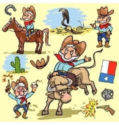 Cartoon cowboy set vector