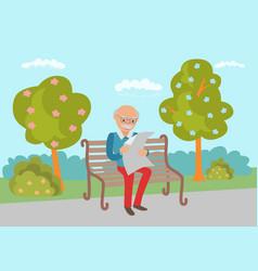 elderly sitting on the park bench vector image