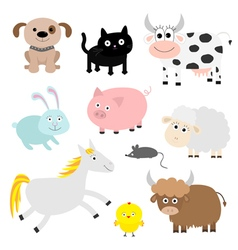 Farm animal set Dog cat cow rabbit pig ship mouse vector image vector image