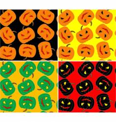 four seamless Halloween pumpkin background vector image vector image