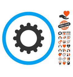 gear icon with dating bonus vector image vector image