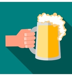 Hand holding mug of beer icon flat style vector image