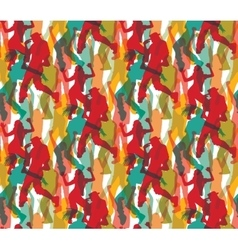 Happy dancing people color seamless pattern vector