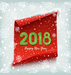 Happy new year 2018 red paper banner vector
