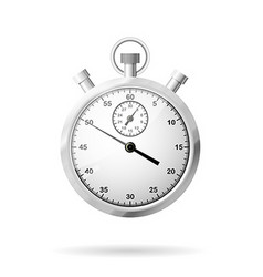 Metallic stopwatch close-up front view vector image
