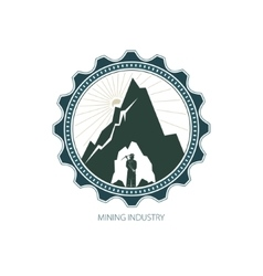 Miner against Mountains in Gear vector image
