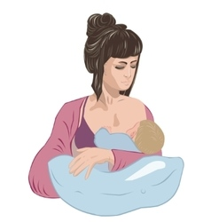 Mother breastfeeding infant baby child lulling him vector