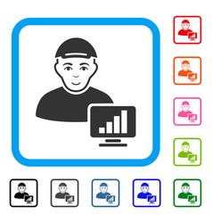 Online trader framed glad icon vector
