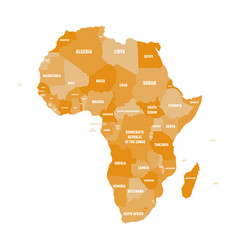Political map of africa in four shades of orange vector