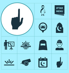 Religion icons set collection of abend iftar vector
