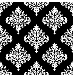 Retro white damask seamless pattern vector