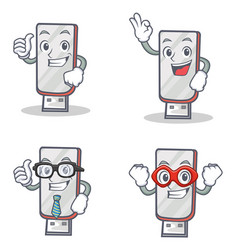 Set of flashdisk character with proud okay vector