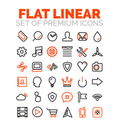 set of flat linear premium icons vector image