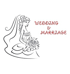 Wedding background with pretty bride vector