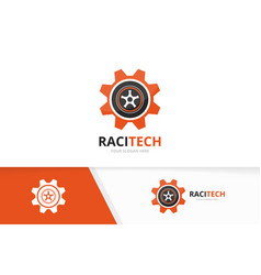 wheel and gear logo combination tire and vector image
