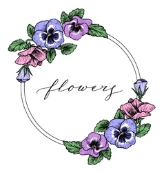 Frame with hand drawn pansy flowers vector