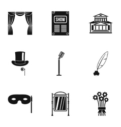 Entertainment in theatre icons set simple style vector