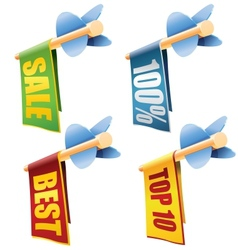 Set of four arrows with banners and sale texts vector