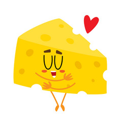 cute and funny cheese chunk character showing love vector image