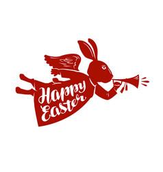 Happy easter lettering rabbit bunny symbol vector