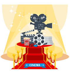 Cinema on red carpet vector