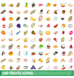 100 fruits icons set isometric 3d style vector
