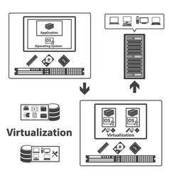 Big data icons set virtualization computing vector