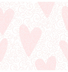 Seamless pattern with swirles and hearts vector
