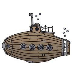 Old wooden submarine vector